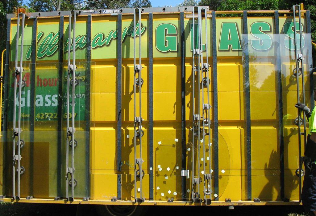Glazier selecting glass